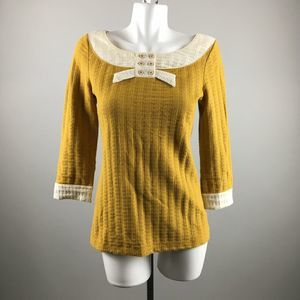 Pilcro Gold Bow Tunic Thermal Blouse Size Medium